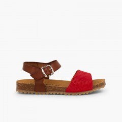 Sandals eco leather and engraved suede girls Red