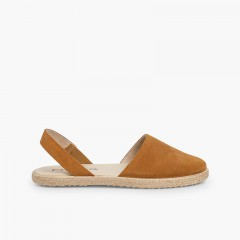 Closed Toe Suede Sandals for Women and Girls Tan