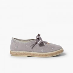 Satin Laces Embroidered Stars Trainers Grey