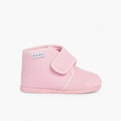 Corduroy Slippers Boots Pink