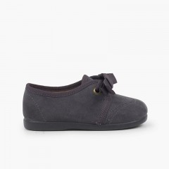 Kids Blucher-Style Shoe with Bow and Broguing Grey
