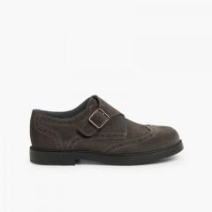 Split-Leather Buckle Blucher Shoes  Grey