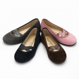 Girls Ballet Pumps with Crossed Ribbon