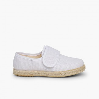 Linen and Jute Bluchers with Velcro White