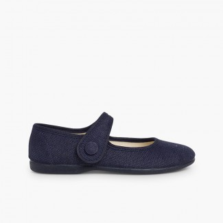Girls' Linen Mary Janes with Velcro and Button Navy Blue