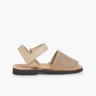 Fabric Avarcas Menorcan Sandals Light Brown