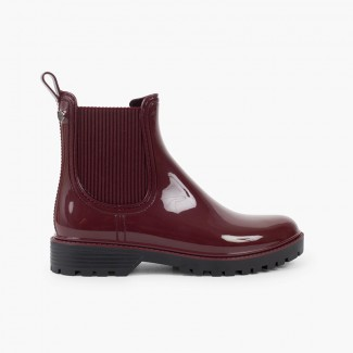Wellies with a track sole and elastic Burgundy