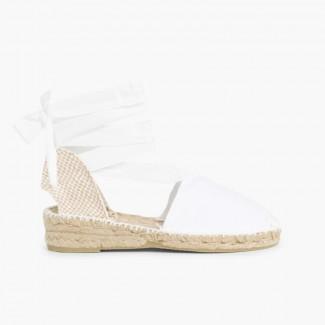 Plain Ankle-Tie Espadrilles White