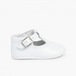 Soft Leather T-Bar Baby Shoes White