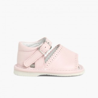 Open-toed Leather Baby Girl Shoes  Pink