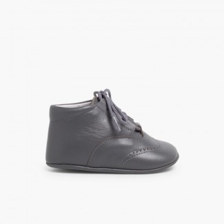 Lace-Up Oxford Booties Grey