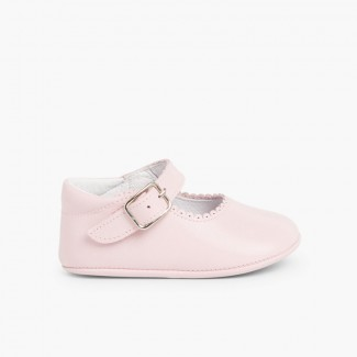 Soft Leather Buckle Up Baby Mary Janes  Pink