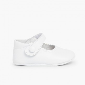 Soft Leather Baby Mary Janes  White