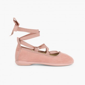 Suede Effect Ballet Pumps With Bows Pale Pink