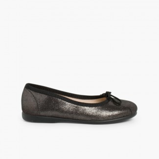 Shiny Ballerinas for Girls and Women Black