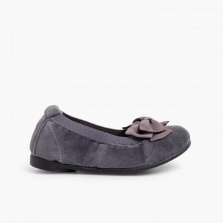 Velvet Ballet Flats with Bow Grey
