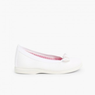 First Walkers Canvas Elasticated Ballet Pumps White