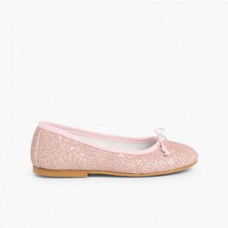 Girls & Womens Glitter Ballerina Shoes Pink
