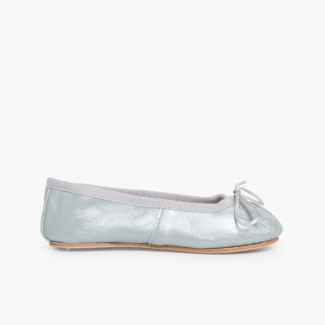 Girls and Womens Metallic Leather Ballerinas Silver