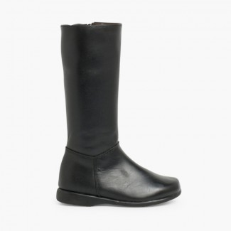 Leather Plain Knee High Boots Black