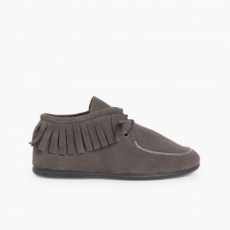 Fringed Ankle Boots for Kids and Women  Grey