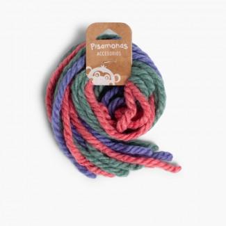 Woollen Hair Ties Pink and Blue