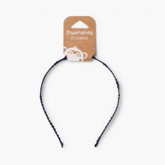 Rigid Headband Scrunchy Material Navy Blue