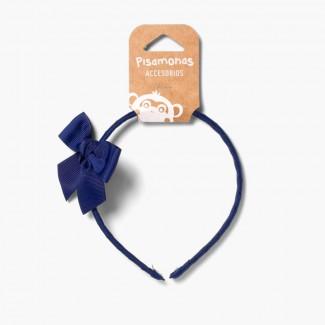Narrow headband with bow Navy Blue