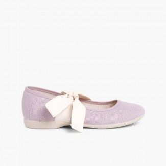 Angelito Linen Mary Janes With Beige Bow Mauve