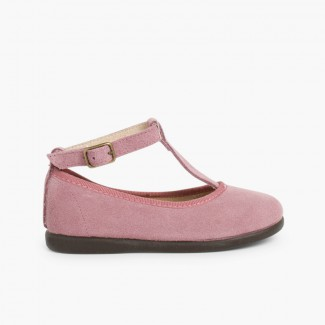Girls T-Bar Mary Jane Shoes Aubergine