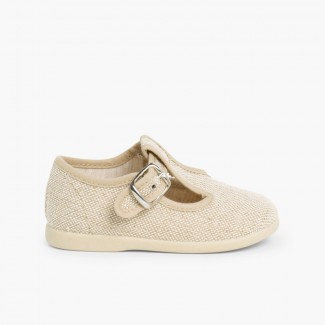 Boys Linen T-Bar Shoes with Buckle Linen