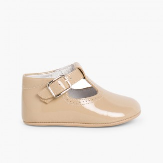 Baby Patent T-Bar Shoes with buckle Tan