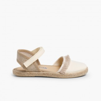 Valencia-style Fringed Sandals With loop fasteners Beige
