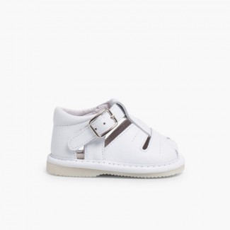 Leather Baby Sandals White