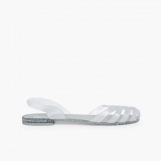 Rubber Sandals for Women Paris Silver
