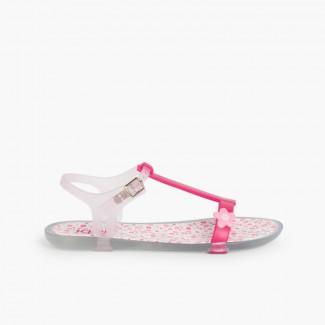Girls Rubber Sandals Tricia Flower Fuchsia