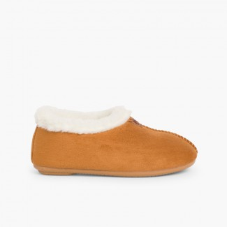 Faux Sheepskin Slippers Tan
