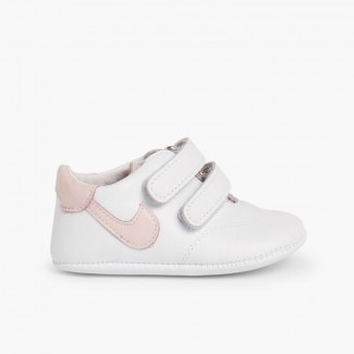 Leather trainers for baby Pink