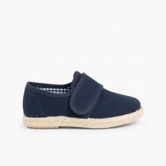 Velcro Blucher Shoes Espadrille Sole Navy Blue