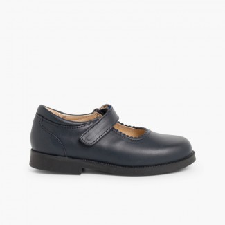 Girls Riptape Mary Jane School Shoes Navy Blue