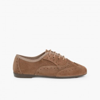 Girls Brogue Shoes Taupe