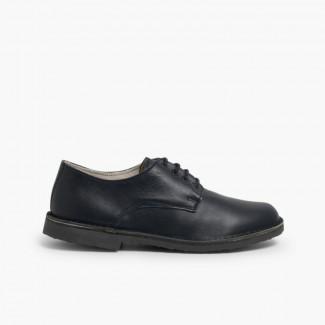 Blucher-style children's leather shoes Navy Blue