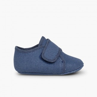 Baby Bluchers with Velcro Blue
