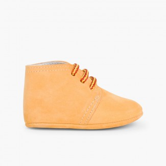 Nubuck Baby Boots with Bicolour Laces Peach