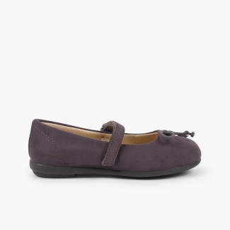 Ballet Flats with Velcro and Mary Jane-Style Bow  Grey