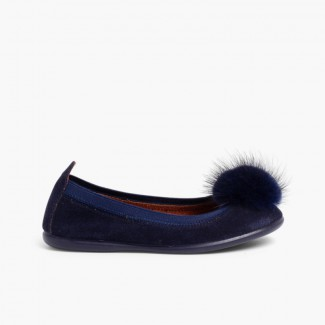 Girl´s and women´s ballet shoes with a pompom Navy Blue