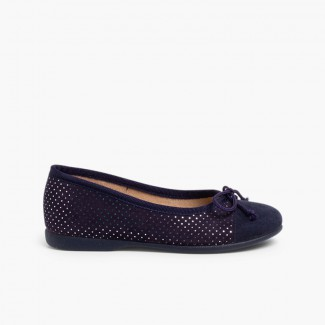 Combined serratex ballet shoes with shiny little dots  Navy Blue