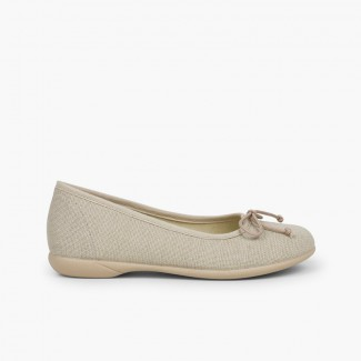 Linen Communion Ballet Flats for Girls Off-White