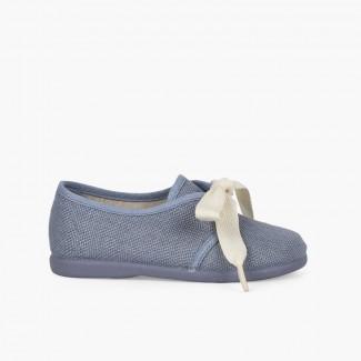 Boys' Linen Bluchers with Ecru Laces Blue