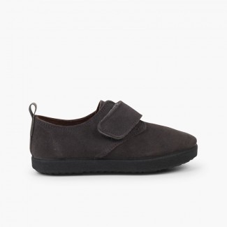 Casual velcro bluchers in suede Grey